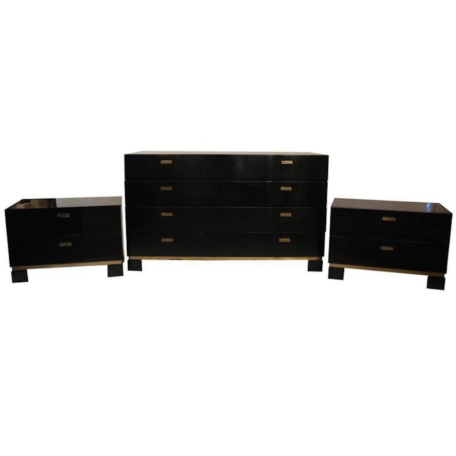 French Black & Gold Sideboard And Pair Of Drawers, 1970S For Sale Intended For Black Sideboard (View 15 of 20)