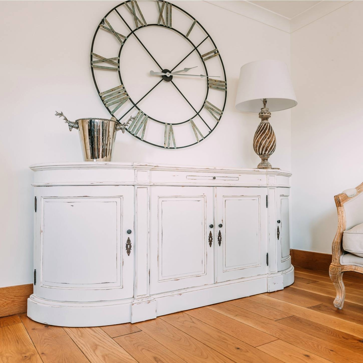 French Distressed White Large Sideboard Cabinet Furniture – La With Regard To Large White Sideboard (#6 of 20)