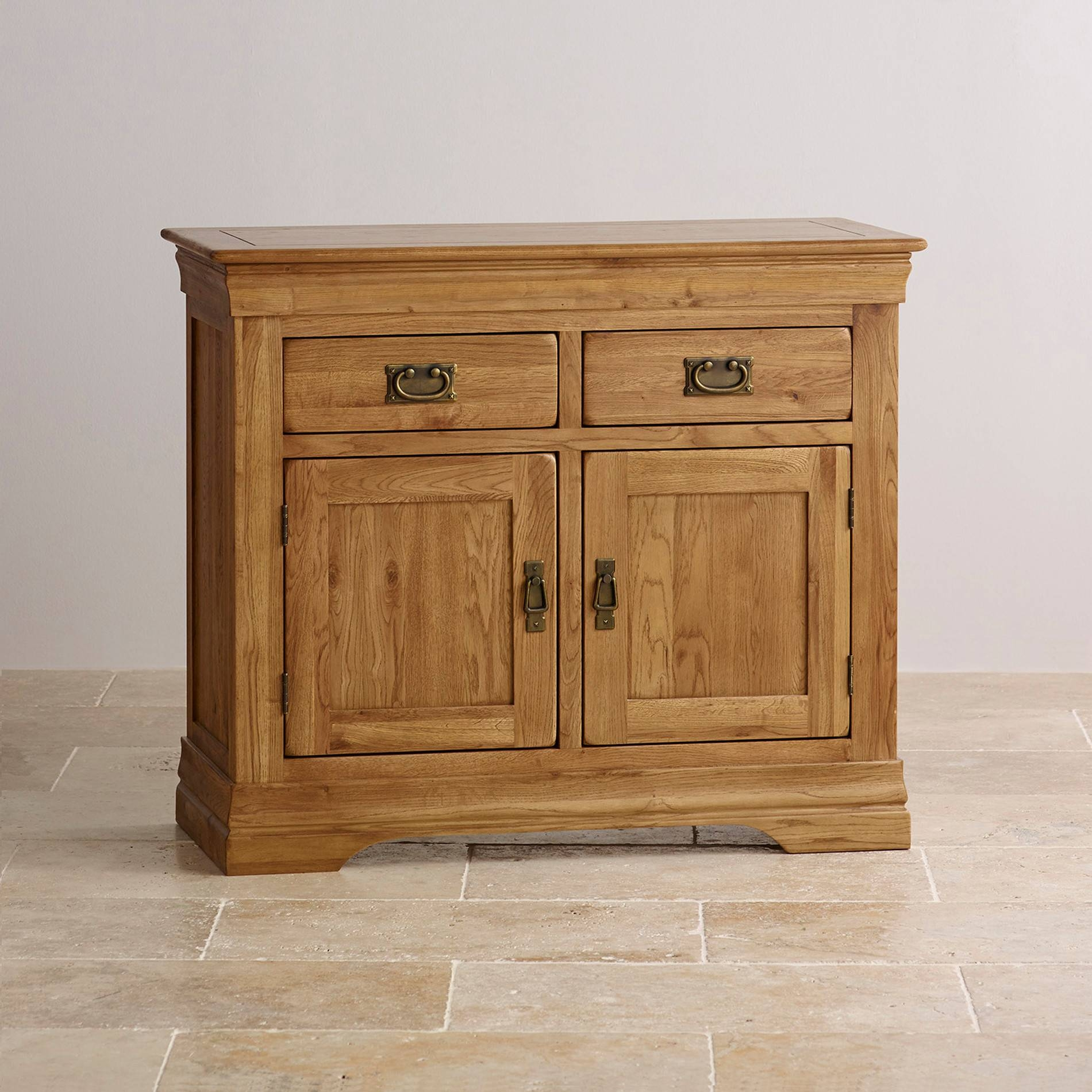 French Farmhouse Small Sideboard In Solid Oak Inside Small Wooden Sideboard (#12 of 20)