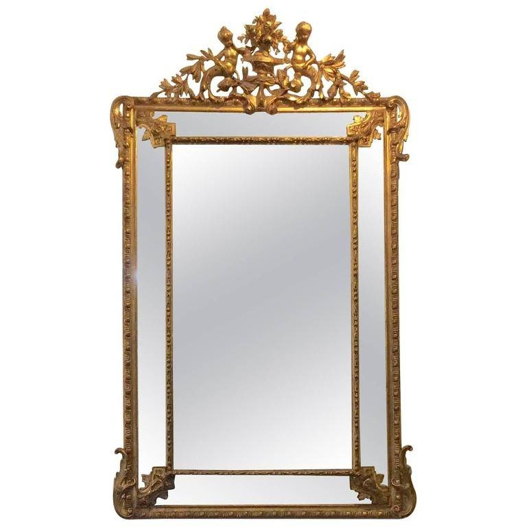 French Gold Gilt Mirror With Cherubs And Beveled Glass For Sale At Intended For French Gilt Mirrors (View 22 of 30)