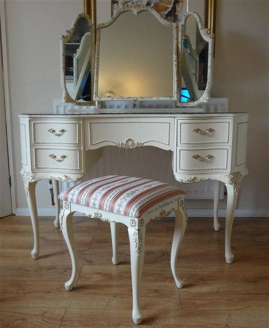 French Louis Style Dressing Table And Stool For French Style Dressing Table Mirrors (#10 of 20)