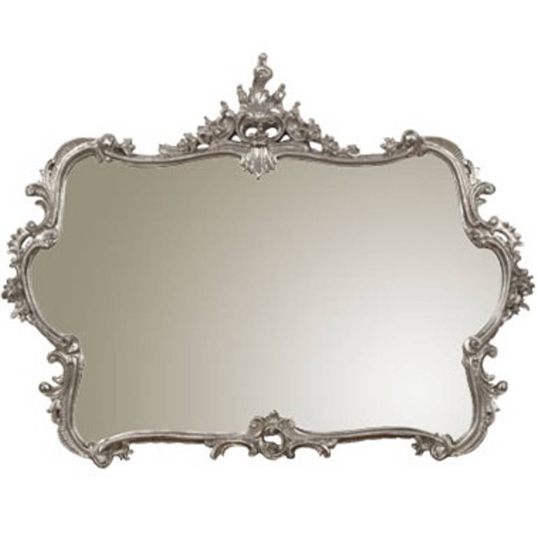 French Louis Xv Style Carved Wall Mirror In Silver Leaf At 1Stdibs Pertaining To French Style Wall Mirrors (#15 of 30)
