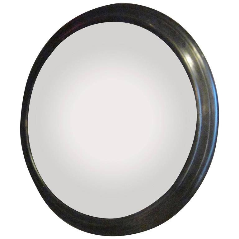 French Napoleon Iii Extra Large Round Convex Mirror In Black Frame Pertaining To Large Round Black Mirrors (View 17 of 30)