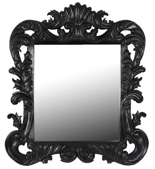 French Noir Black Painted Rococo Wall Mirror Inside Black Rococo Mirrors (#17 of 30)