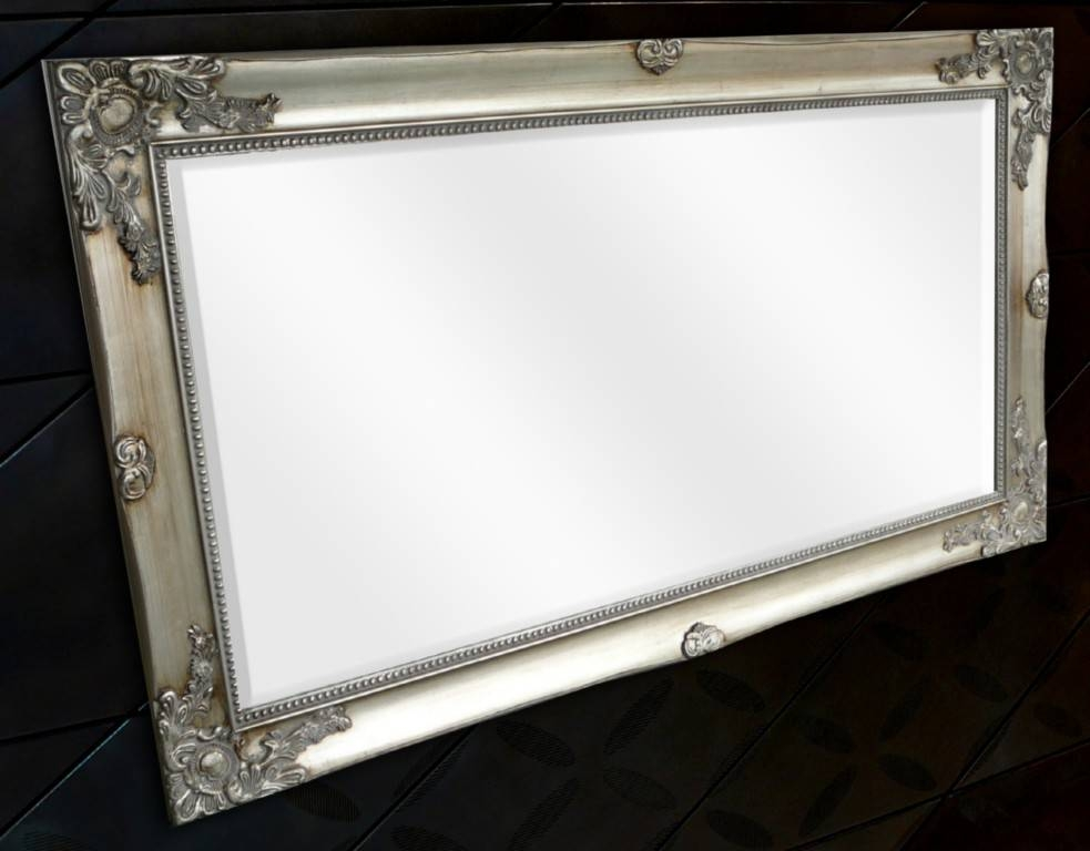 French Provincial Mirror Large Pewter Silver | Rustique Inside Large Pewter Mirrors (#10 of 20)
