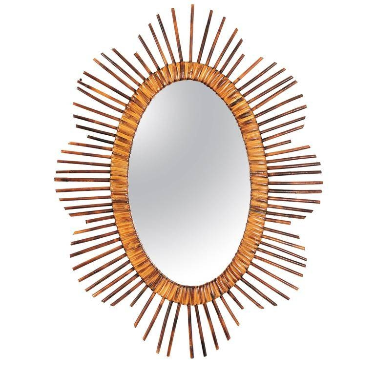 French Riviera Mid 20Th Century Rattan Starburst Oval Mirrors For Pertaining To French Oval Mirrors (#19 of 30)