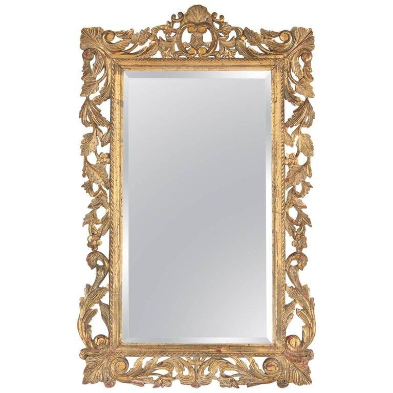 French Rococo Style Mirror With Gilt Wood Frame, Early 1900S For Regarding French Rococo Mirrors (#9 of 15)