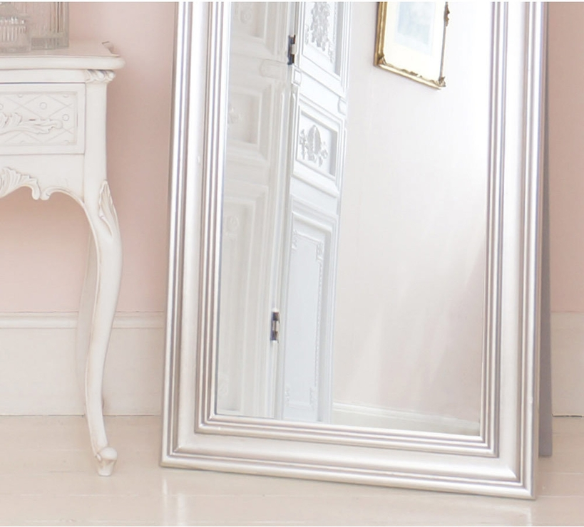 French Silver Free Standing Mirror Full Length | Mirrors Intended For Silver Free Standing Mirrors (View 12 of 20)