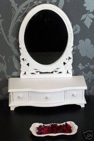 French Style Dressing Table Mirror Drawers Finished White Intended For French Style Dressing Table Mirrors (#14 of 20)