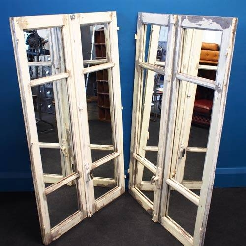 French Window Shutter Mirror – Timber Frame » Unique Vintage Throughout Window Shutter Mirrors (#20 of 30)