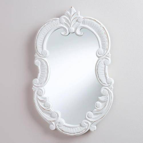 Frosted White Forest Mirror In Oval White Mirrors (#14 of 30)