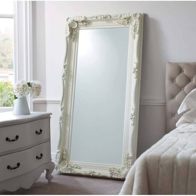 Full Length Edward Leaner Mirror With Cream Frame 179 X 91 Cm Full Throughout Shabby Chic Full Length Mirrors (#14 of 20)