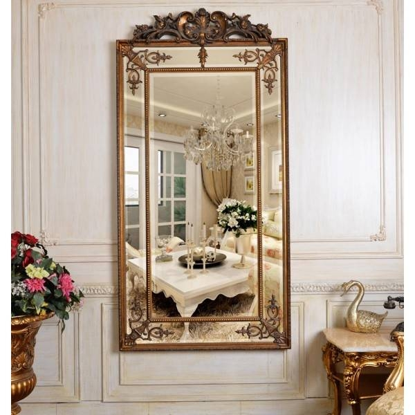 Full Length Gold Cimiero Mirror With Crest 183 X 91Cm Gold Cimiero Intended For Gold Full Length Mirrors (#17 of 30)