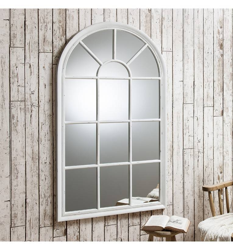 Fulshaw Distressed Window Wall Mirror Pertaining To Window Arch Mirrors (View 12 of 20)