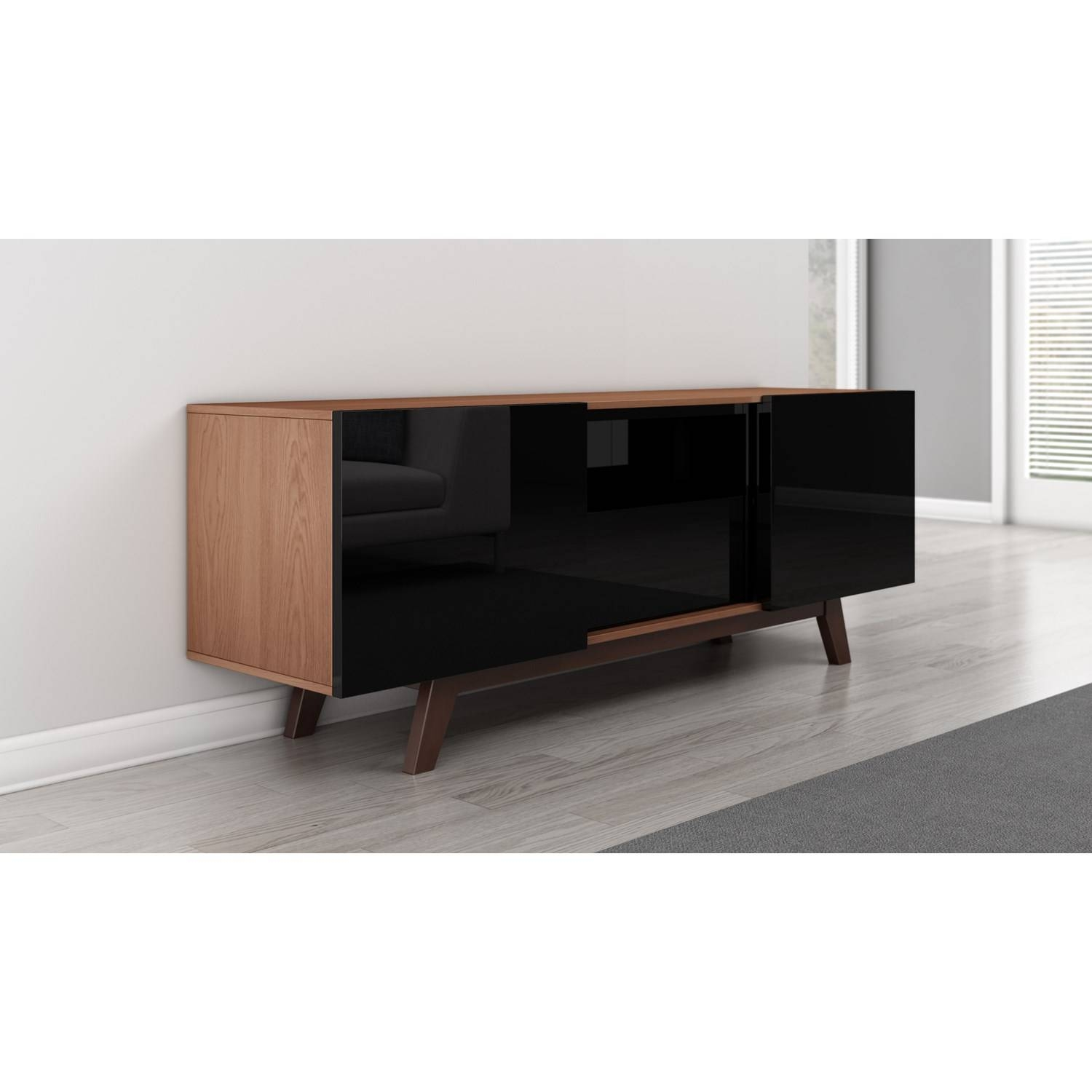 "Furnitech 70"" Modern High Gloss Black Tv Stand – Ft70Rbl 