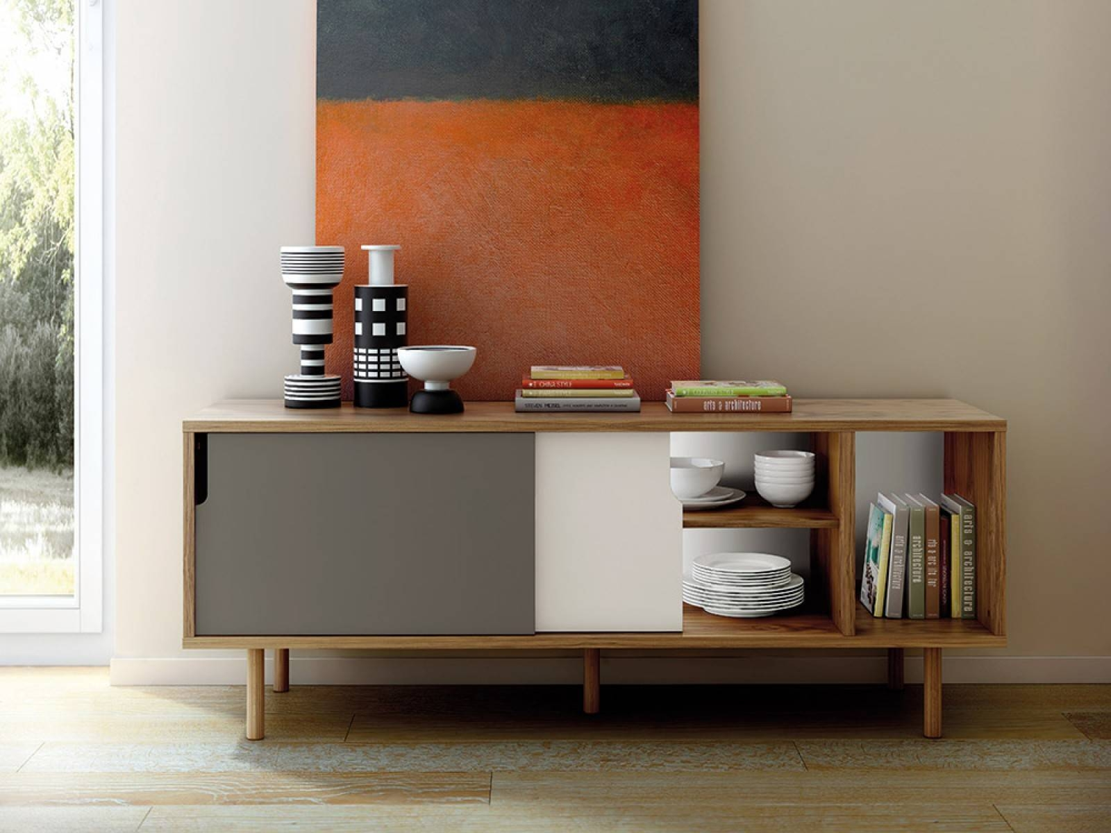 Furniture: Beautiful Profile Modern Sideboard For Living Room Within Contemporary Sideboards (View 2 of 20)