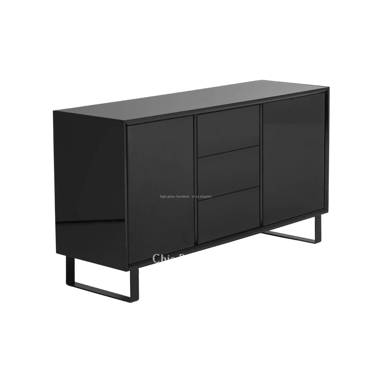 Furniture: Black Modern Sideboard With 3 Drawers And 2 Doors For Pertaining To Black High Gloss Sideboards (#9 of 20)