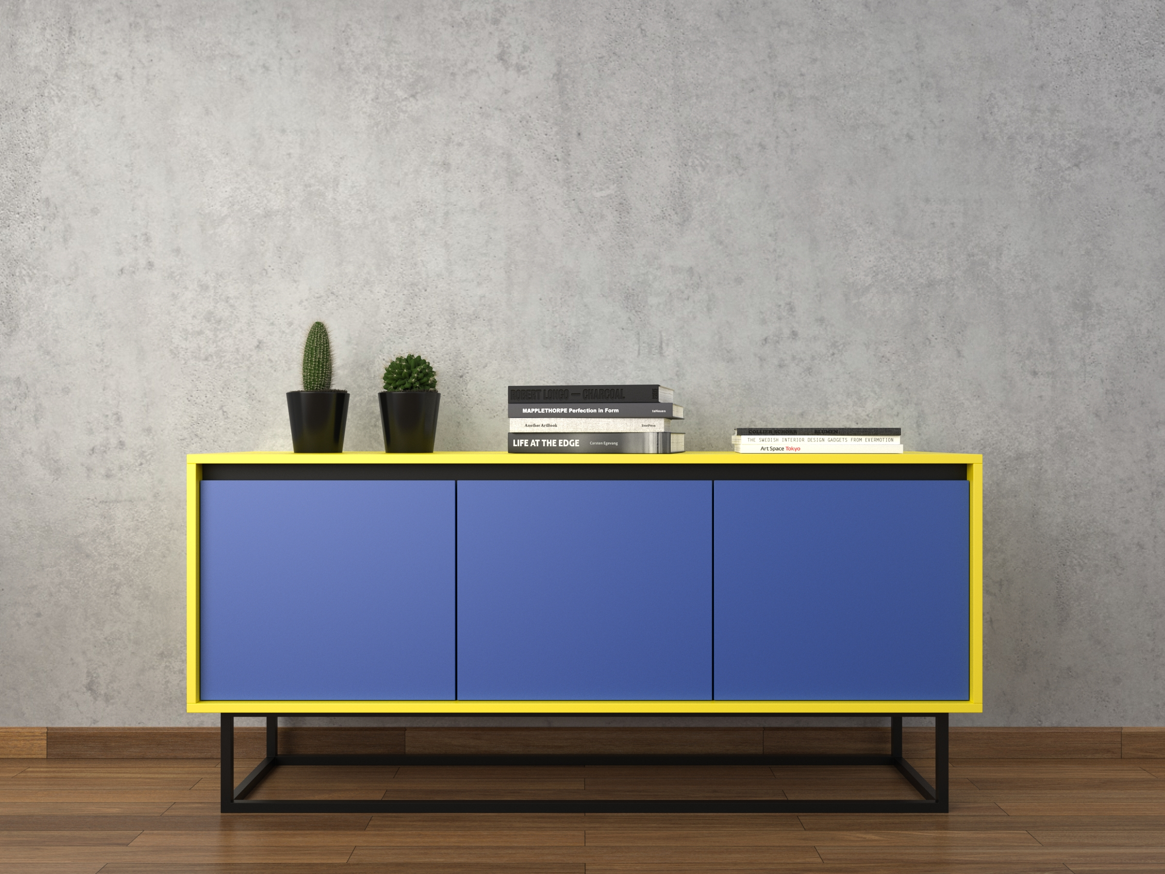 Furniture: Modern Sideboards With Blue Paint Also Glass Buffet Intended For Low Sideboards (#7 of 20)