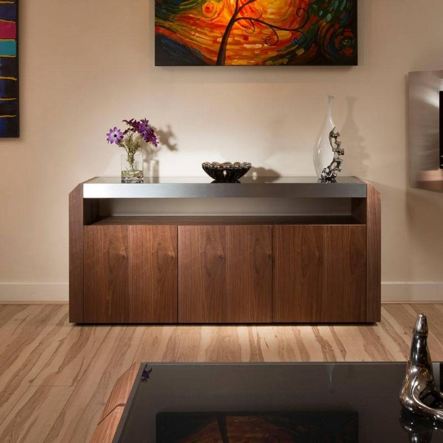 Popular Photo of Walnut And Black Sideboard