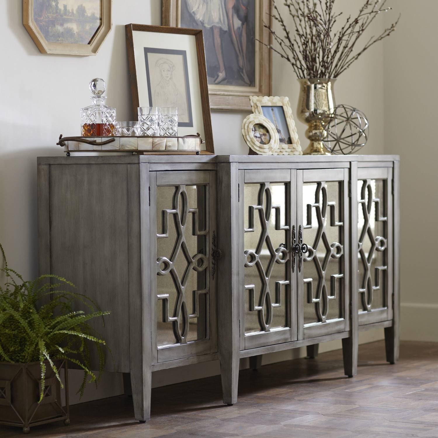 Furniture: Narrow Sideboard | Mirrored Buffet Cabinet | Buffets With Narrow Sideboard Cabinet (#4 of 20)