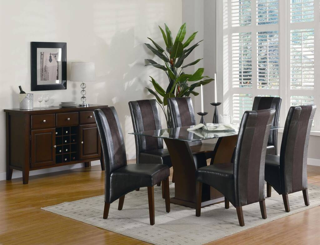 Furniture: Small Square Glass Dining Table And Black Chairs For 2 Regarding Glass Sideboards For Dining Room (View 20 of 20)