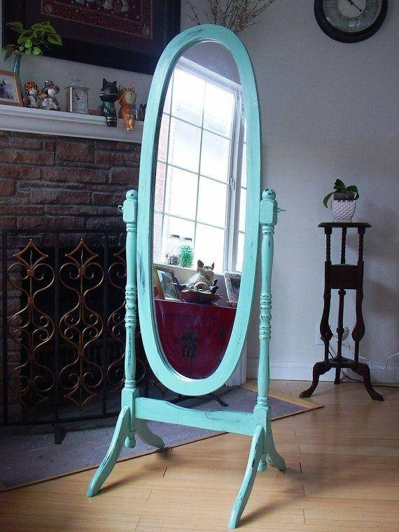 Furniture: Tall Standing Mirror With Some Color Frame On The Wall Intended For Free Standing Oval Mirrors (#14 of 20)