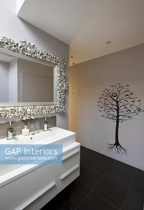 Gap Interiors Sink Unit Ornate Mirror And Tree Wall Mural In Within Bathroom