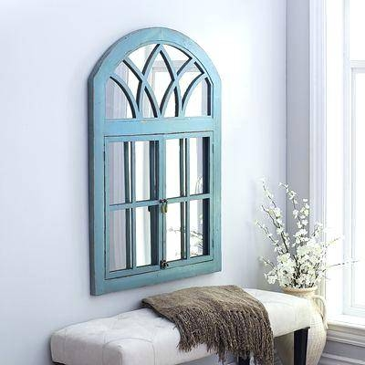 Garden Window Mirrorgarden Mirror Turquoise White – Shopwiz Intended For Garden Window Mirrors (#14 of 20)