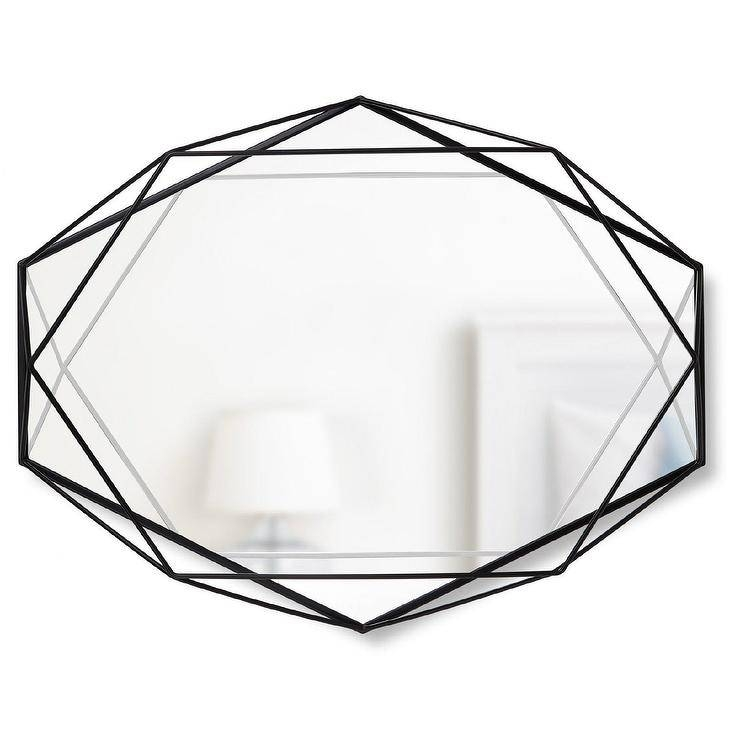 Geometrical Black Metal Wall Mirror For Black Oval Wall Mirrors (View 20 of 20)