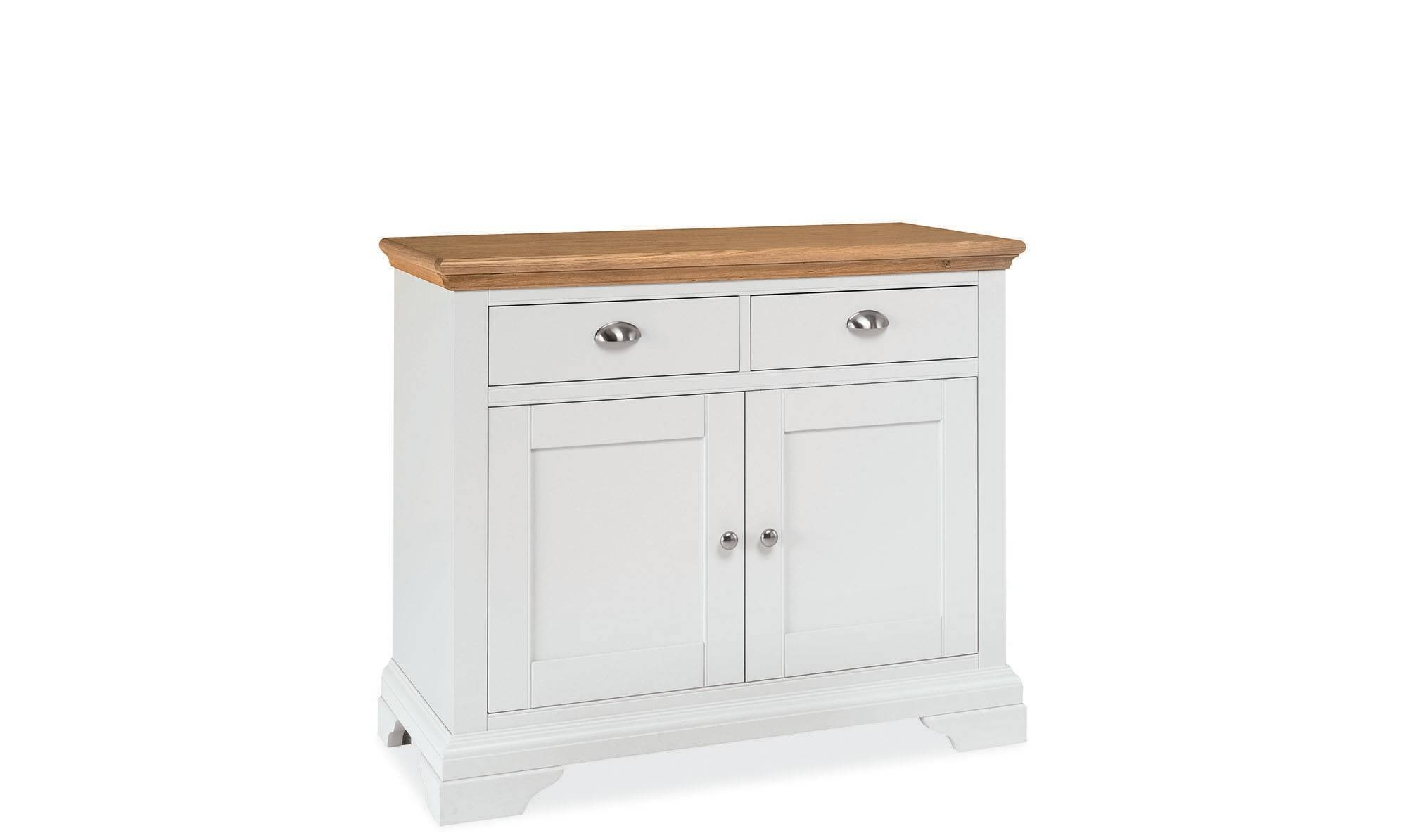 Georgie – Narrow 2 Door Sideboard Cream Painted / Natural Oak Top Regarding Cream Sideboard (#15 of 20)