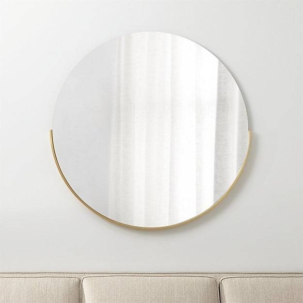 Gerald Large Round Wall Mirror   Crate And Barrel Throughout Slim Wall Mirrors (View 14 of 30)