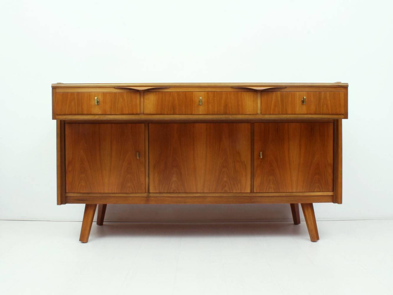 German Walnut Desk & Sideboard, 1950S For Sale At Pamono Inside Desk Sideboard (#4 of 20)