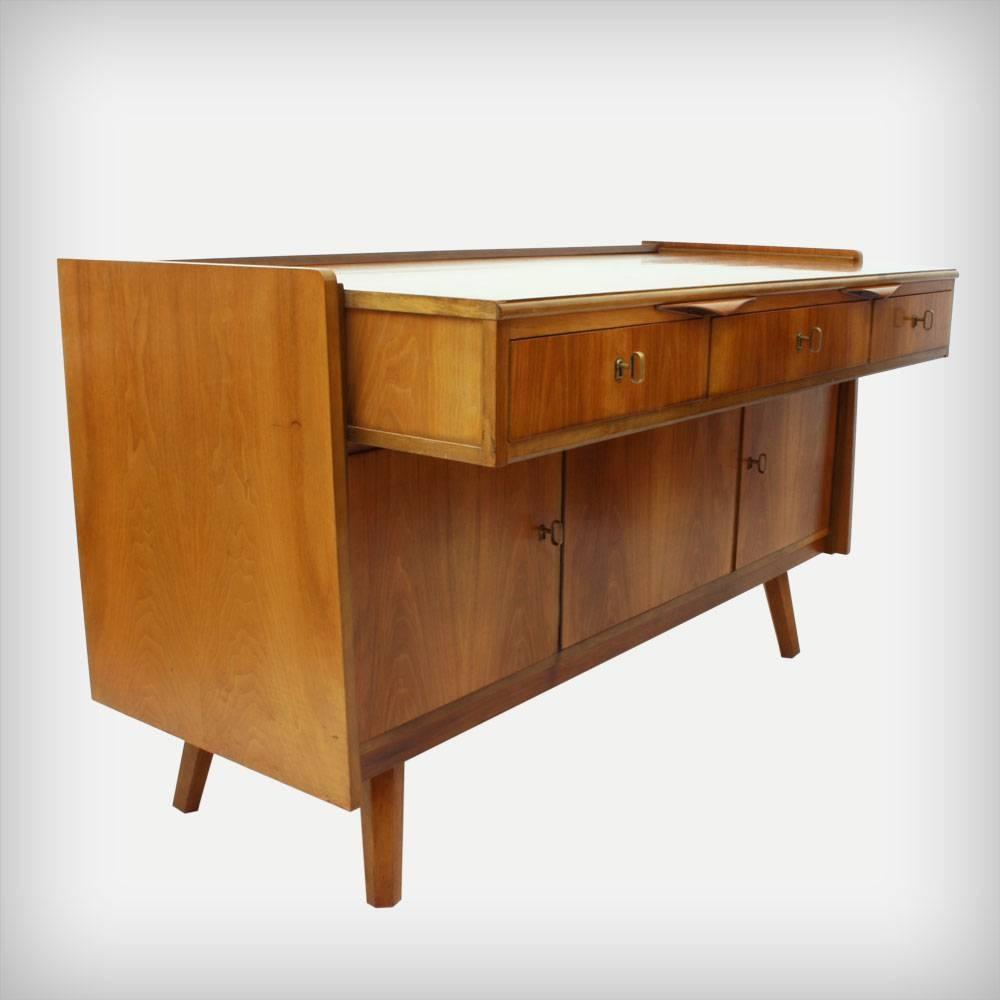 German Walnut Desk & Sideboard, 1950S For Sale At Pamono Intended For Desk Sideboard (#5 of 20)