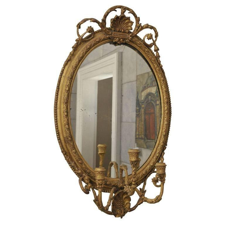 Gilded Oval Girandole Mirror With Triple Candelabra For Sale At Pertaining To Triple Oval Mirrors (#3 of 20)
