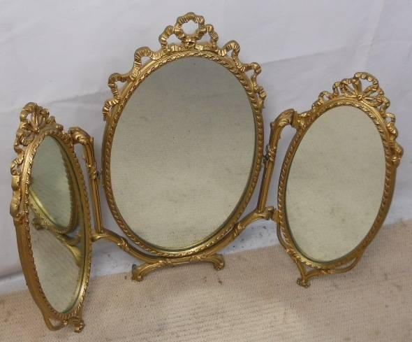 Gilt Metal Oval Triple Folding Dressing Mirrorpeerart – Sold In Ornate Gilt Mirrors (#13 of 30)