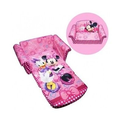 Girls Sofa Bed Flip Out Couch Pink Minnie Mouse Toddler Chair Within Flip Out Sofa Bed Toddlers (#9 of 15)