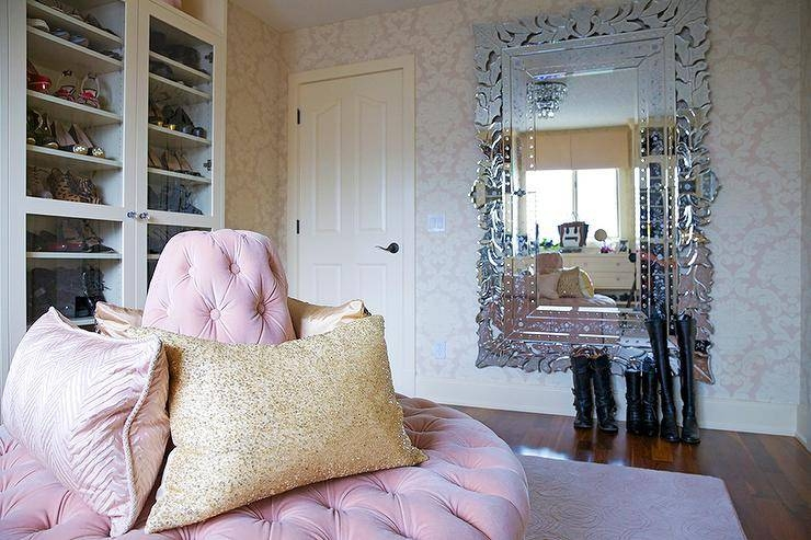 Glam Pink Closet With Pink Ottoman And Full Length Venetian Wall Regarding Full Length Venetian Mirrors (#7 of 15)