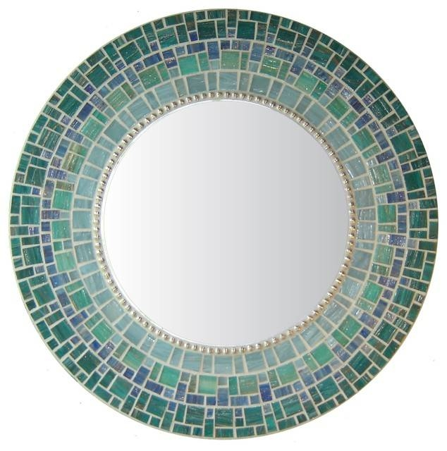 Glass Mosaic Round Mirror – Transitional – Wall Mirrors  Opus For Blue Round Mirrors (#16 of 30)
