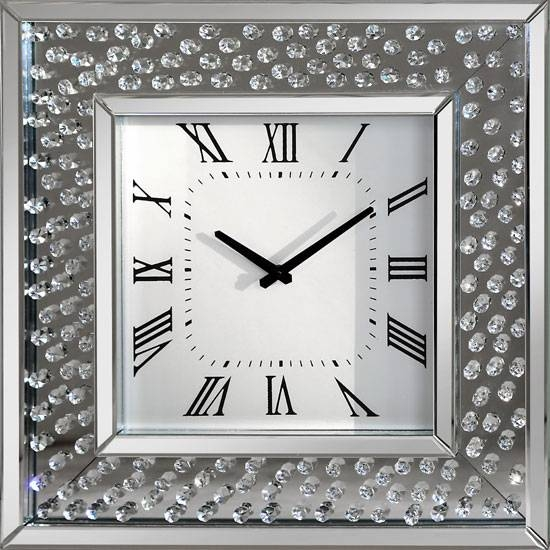 Glass With Crystals Border Rosalie Square Wall Clock In Mirrored Throughout Wall Mirrors With Crystals (#14 of 20)
