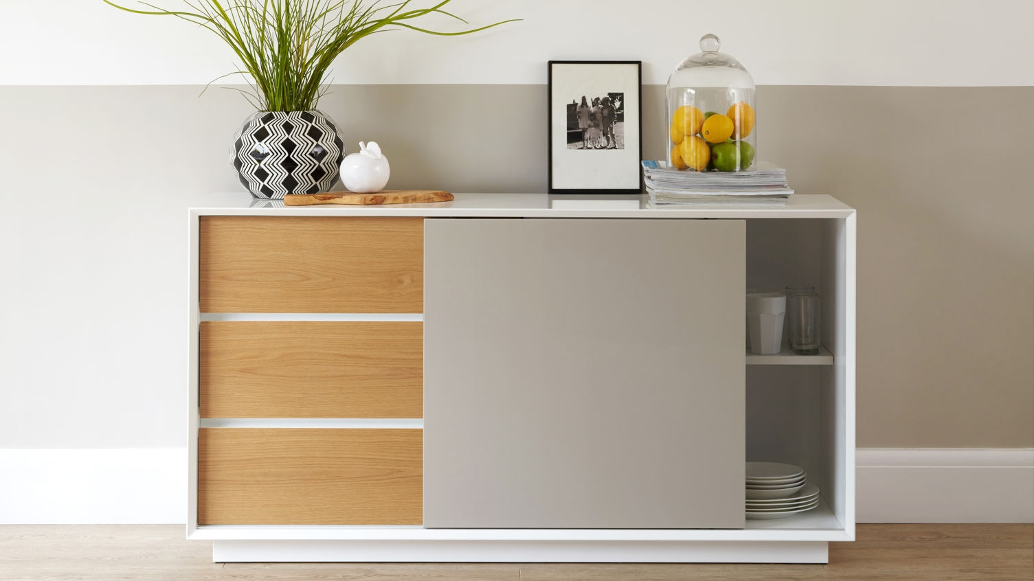 Glide Sideboard In White Gloss With Grey And Oak In Danetti For Grey Gloss Sideboard (#9 of 20)