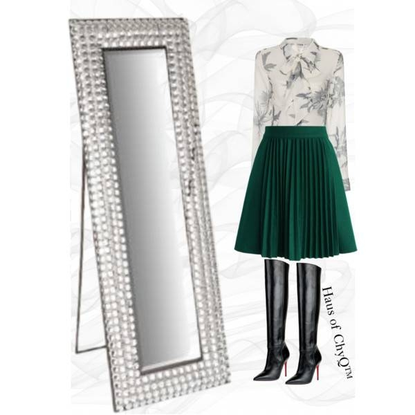 Go Green!! – Polyvore With Bling Floor Mirrors (#19 of 30)