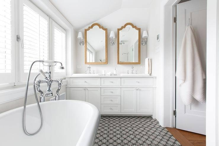 Gold Arch Vanity Mirrors With Mirrored Sconces – Transitional With Arched Bathroom Mirrors (#17 of 20)