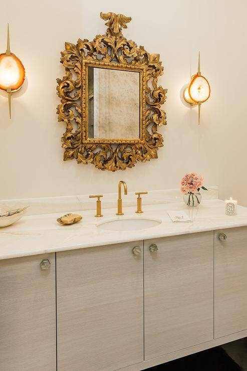 Gold Baroque Mirror With Light Gray Washstand – French – Bathroom With Gold Baroque Mirrors (#21 of 30)