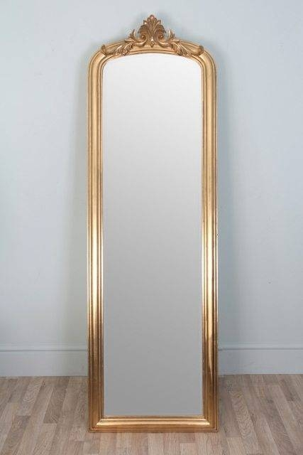 Gold Crested Cheval Mirror – Upstairs Downstairs For Free Standing Dress Mirrors (#18 of 20)