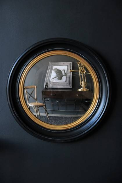 & Gold Framed Convex Mirror With Black Convex Mirrors (#1 of 20)