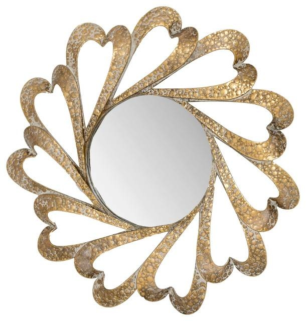 Gold Heart Wall Mirror, 70 Cm – Transitional – Wall Mirrors  G Throughout Gold Heart Mirrors (#16 of 30)
