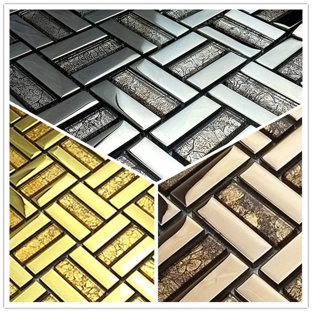 Gold Mirror Glass Mosaic Tv Backdrop Living Room Decorative Tiles Intended For Bronze Mosaic Mirrors (#23 of 30)