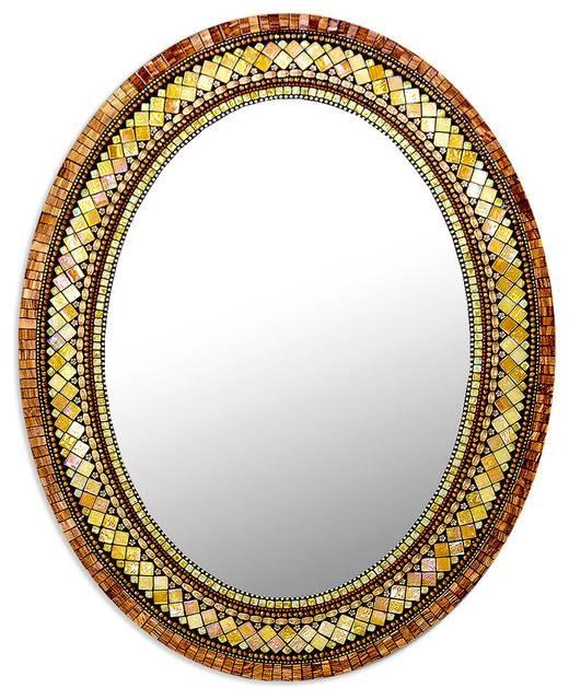 Golden Bronze Mosaic Mirror – Traditional – Wall Mirrors – Throughout Bronze Mosaic Mirrors (#24 of 30)