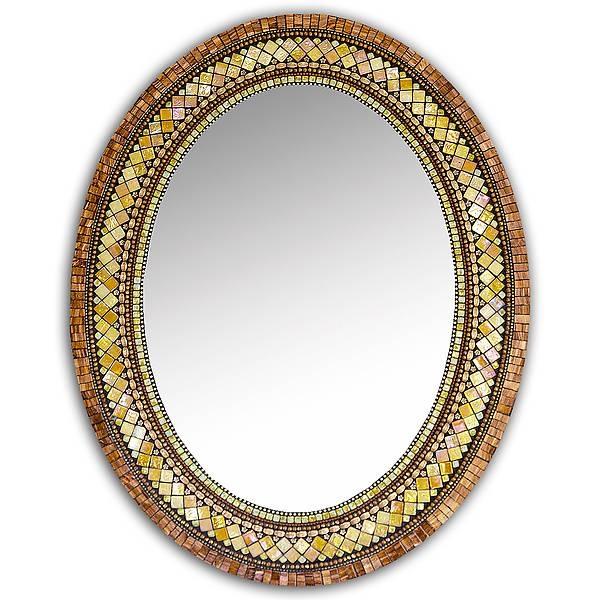 Golden Bronze Mosaic Mirrorangie Heinrich (Mosaic Mirror With Regard To Bronze Mosaic Mirrors (#25 of 30)