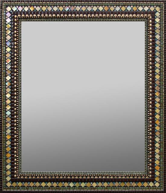 Golden Chocolate Mosaic Mirror – Traditional – Wall Mirrors – Within Mosaic Wall Mirrors (#9 of 20)